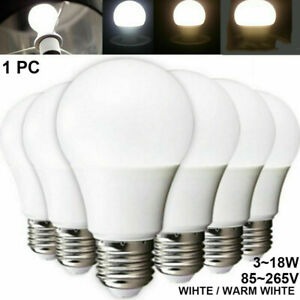Energy Saving LED Light Bulbs E27 Bayonet Screw Round & Candle 3W-12W
