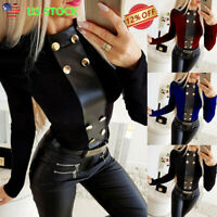 Women's Casual PU Tops Ladies Slim Fit Long Sleeve Round Neck T-Shirt Blouse USA