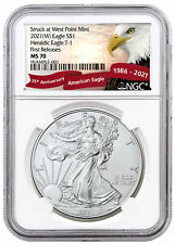 2021(W) American Silver Eagle Struck West Point Mint Ngc Ms70 Fr Eagle Presale