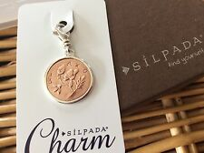Silpada Charm C2590 PRETTY PENNY Friendship .925 Sterling Silver Copper Clip On