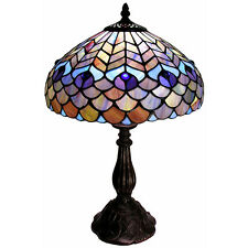 """Peacock Scaled Light 18"""" H Stained Glass Table Lamp Lamps NEW"""