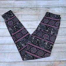 Pink and Black Elephant Design Women's Leggings OS One Size 2-12 Soft as LLR