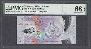 Vanuatu 500 Vatu 2017 P18 Polymer Banknote Uncirculated Graded 68