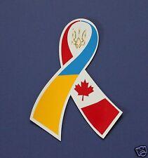 Ukrainian Car Bumper Fridge Magnet Sticker Ribbon Ukraine-Canada Flag Tryzub