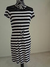 NWT.Ladies calvin klein white/black striped short sleeve/waist string dress;4