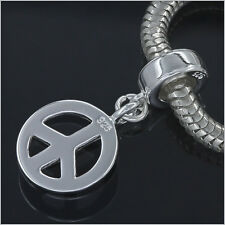 Sterling Silver Peace Sign Charm Spacer Fit European Bracelet #94107