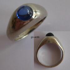 227 - Klassischer Bandring - Weißgold 585 - blauer Farbstein -137/315-