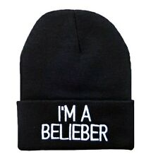 I'M A BELIEBER JUSTIN BIEBER BEANIE HAT (BLACK WITH WHITE LOGO) Free Ship USA