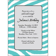 25 Personalized Birthday Party Invitations  - BP-031 Zebra Skin - Turquoise
