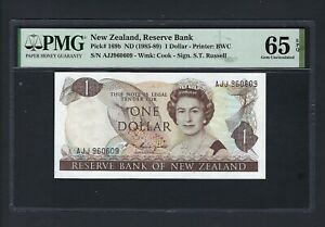New Zealand One Dollar (1985-89) P169b Uncirculated Graded 65