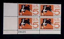 US Stamps, Scott #1307 Humane Treatment Issue 1966 5c Plate Block of 4. Fresh.