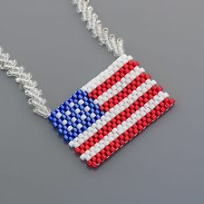 "20"" 4th of July American Flag Patriotic Seed Beads Necklace Made in the USA"