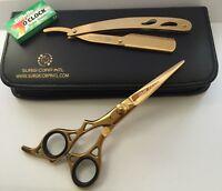 "6""Professional Hairdressing Scissor Barber Haircutting Gold LEFT HANDED w/ Razor"