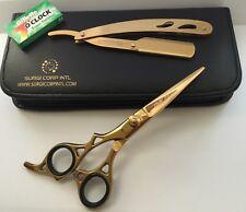 peluquería profesional tijeras barbero peluquería ORO zurdos con cuchilla