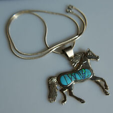 New Made in Santa Fe, Solid 92.5 Horse Pendant with Opal and Turquoise Inlay