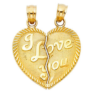 14k Yellow Gold I Love You Heart  Breakable Split TINY Pendant Charm Free Chain