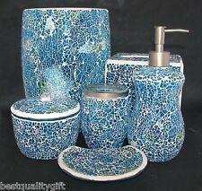 6 PC SET BLUE,GREEN GLASS MOSAIC SOAP DISPENSER+DISH+TOOTHBRUSH+TRASH CAN+2 MORE