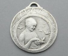French Medal. 1920, Woman Marianne Female, Birde. Art Deco, Nouveau. Pendant.