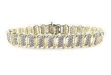 "10k Yellow Gold S Style Diamond Tennis Bracelet  7 3/8""  4.00 Carats"