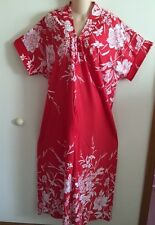 ~NWT~CORAL/WHITE TRAPUNTO SHORT SLEEVE ZIP FRONT 52IN.  LOUNGER SIZE 6X