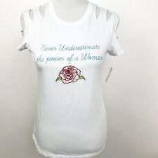 Project Social T Womens White Graphic Embroidered Top T Shirt Small