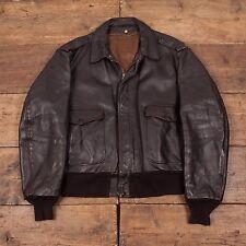 """Mens Schott USA Vintage Leather Bomber Flight Jacket Brown L 46"""" R3811"""