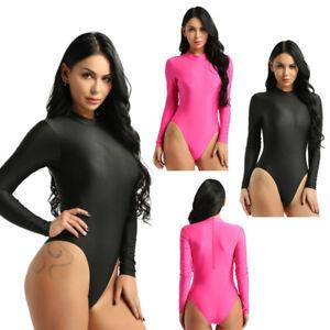 Damen Body Langarm Stehkragen Bodysuit Top Unterhemd Gymnastik Trikot Bademode