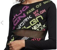 NWT True Religion Women's Multi-color Logo Mesh Panel Crop Top, Size S