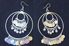 BohoCoho Quirky Boho Gypsy Bellydancer style silver plated huge hoop earrings