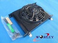 New Universal 30 Row 10 AN Black Transmission Oil Cooler + fan Subaru WRX STI