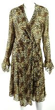 ESCADA Leopard Print Silk Chiffon Draped Wrap-Effect Dress 40