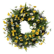 Artificial Wild Daisy Floral Twig Door Wreath Green Rattan Decoration, 22inch