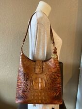 Brahmin Brown Handbag Leather Croc Embossed Shoulder Bag Tote Purse Crossbody