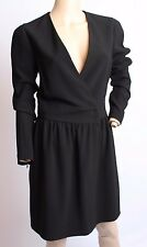 Celine France Deep V Sexy Black Silk Blend Dress 40