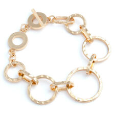 Linked Hammered Loops Toggle Bracelet In Gold Tone Fast Ship From Usa