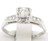 Vintage 14K White Gold 0.37ctw European Cut Diamond Solitaire Engagement Ring