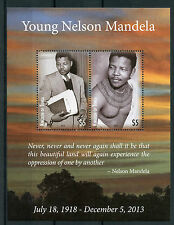 Tonga 2014 MNH Young Nelson Mandela 2v M/S Politicians World Leaders Stamps