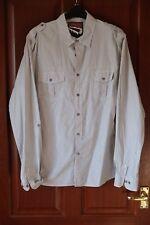 "TopMan Man's 100% Cotton Shirt, Size Large, Chest 40-42"", Grey/White pinstripes"