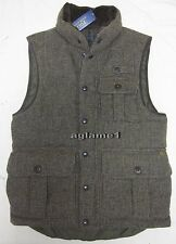 NWT Ralph Lauren tweed wool down leather trim hunting vest M