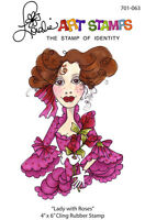 """Loralie Art Stamp - 701063 Lady With Roses - 4"""" x 6"""" Cling Rubber Sheet"""