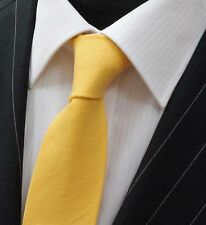 Tie Neck tie Slim Solid Canary Yellow Quality Cotton T682