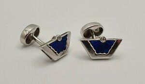 NICOLE BARR Sterling Silver Blue Enamel Diamond Trapeze Fan Cufflinks Curved Bar