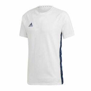 ADIDAS $35 Men's TAN TAPE TEE Gym T-Shirt Football Soccer White Sizes M L FM0854