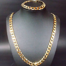 HOT SALE  SET Heavy Men's 24k gold filled necklace & Bracelet 12MM chain Massiva