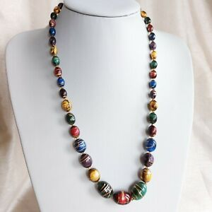 Colourful Painted Graduated Wooden Bead Necklace, Boho Summer
