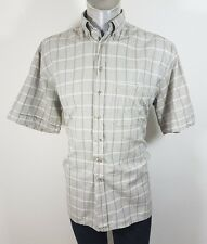 Camel Collection mens button down casual short sleeve shirt Large like XL