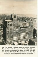 DETROIT MI-J. L. Hudson Company and Largest American Flag in World Real Photo PC