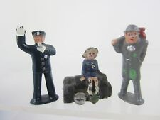 "Lead figure Vtg 3 pc Lot P Britains Grey Iron 2"" Policeman,Girl on Suitcase,Hobo"