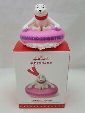 2015 Hallmark Ornament GRANDDAUGHTER - Polar Bear on Pink Snow Tube NEW IN BOX