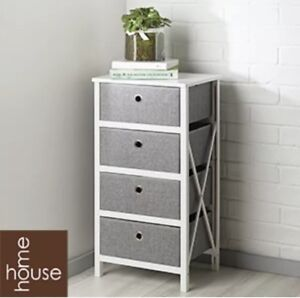 Folding Grey & White 4-Drawer Storage Draws